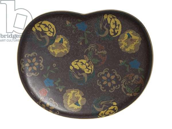 Tray depicting birds, c.1890-95 (cloisonne enamel) (reverse of 118623)