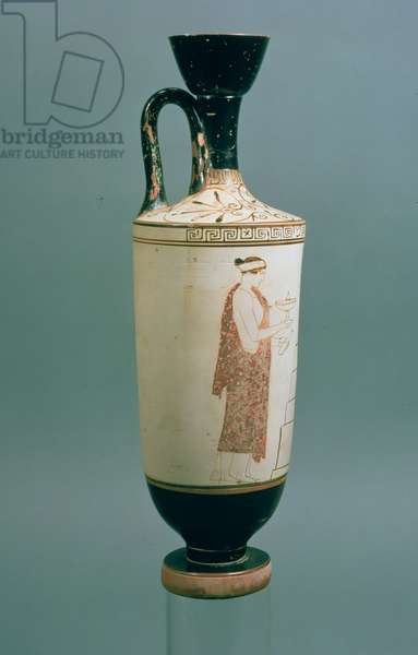 Attic white-ground lekythos decorated with a woman holding a vessel for perfume and an alabastron, from Laurium, Attica, (ceramic) (for recto see 104792)