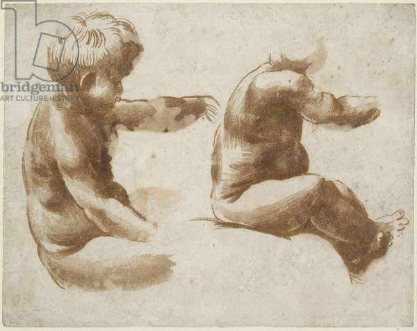 Two Life Studies of a nude Child, WA1846.213 (brush drawing in brown ink over metalpoint with some yellow ink on off-white paper)