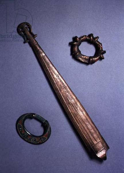 Dagger Sheath, 4th century AD (bronze) and Rein Rings, c.1st century AD