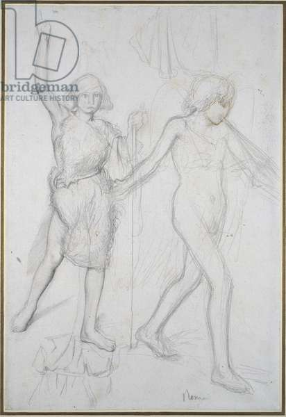 St John the Baptist with an Angel walking before him, on the right (pencil with pen & brown ink on paper)