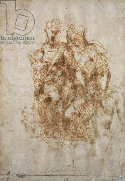 Study of St. Anne, after Leonardo Da Vinci's 'Anne', c.1502 (pen & ink on paper)