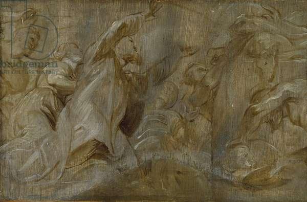 The Sacrifice of Noah, 17th century (oil on panel)