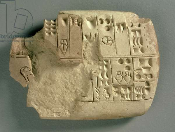 Tablet from Jamdat Nasr in Iraq, listing quantities of various commodities in archaic Sumerian (early cuneiform script) c.3200-3000 BC (clay)