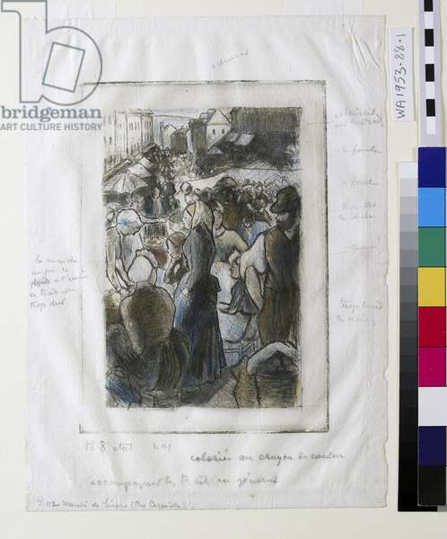 Marché de Gisors (Rue Cappeville) (etching & drypoint)