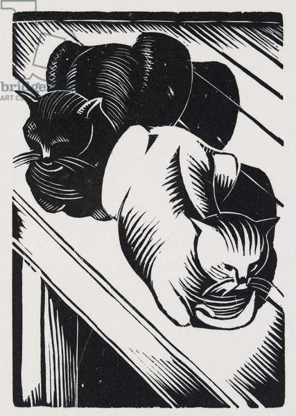 Tibby and Patch (wood engraving on hand-made paper)