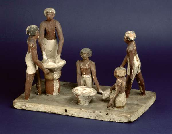 Model of five men brewing, from Beni Hasan, Middle Kingdom, c.2035-1668 BC (painted wood)
