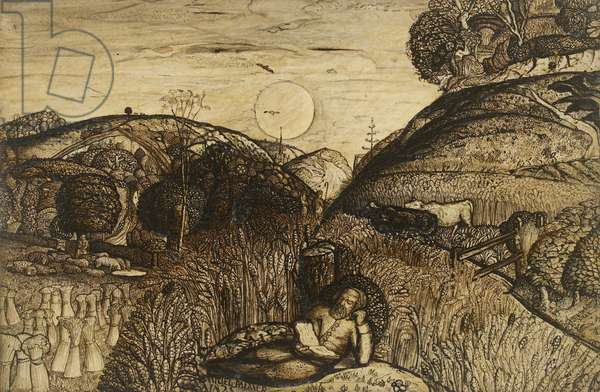 The Valley Thick with Corn, 1825 (pen and dark brown ink with brush in sepia mixed with gum arabic; varnished)