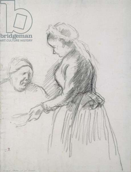 Study of the artist's mother with her maid (charcoal on paper)