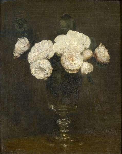 Still Life of Malmaison Roses, 19th century (oil on canvas)