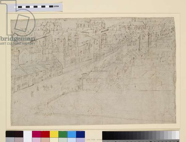 Borough High Street with St. Mary Overy, from 'The Panorama of London', c.1544 (pen and ink and pencil on paper)