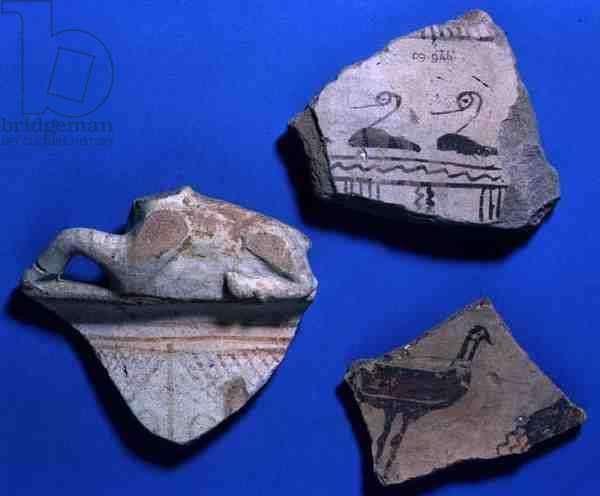 Three sherds from Kultepe, Turkey, c.800 BC (pottery)