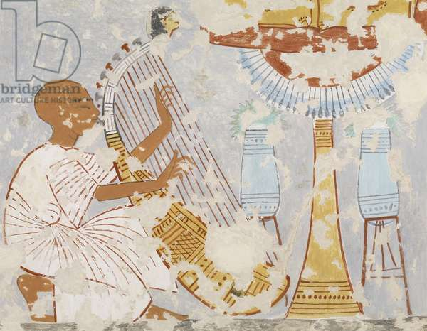 Copy of wall painting the 'Blind Harper' from Thebian tomb 296