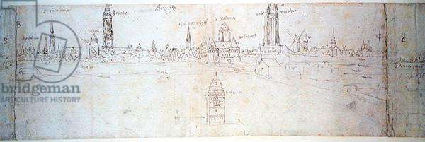 Bruges, 16th century (pen and ink on paper)