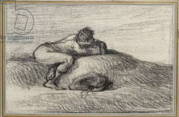 Man crouching on a Hillock, 1848 - 1850 (black crayon on off-white paper, laid down on pale blue paper edged with three gold lines)