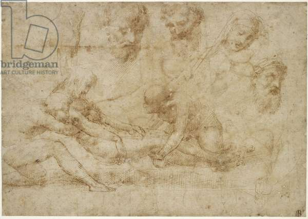 Studies for a Deposition, WA1846.172 (pen & brown ink on buff paper)