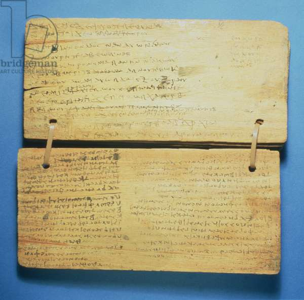 Schoolboy's workbook, with Greek writing (pigment and wood)