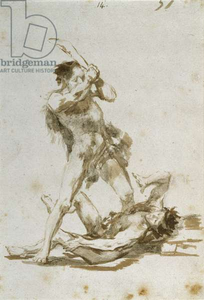 Cain and Abel (brush & brown wash on paper)