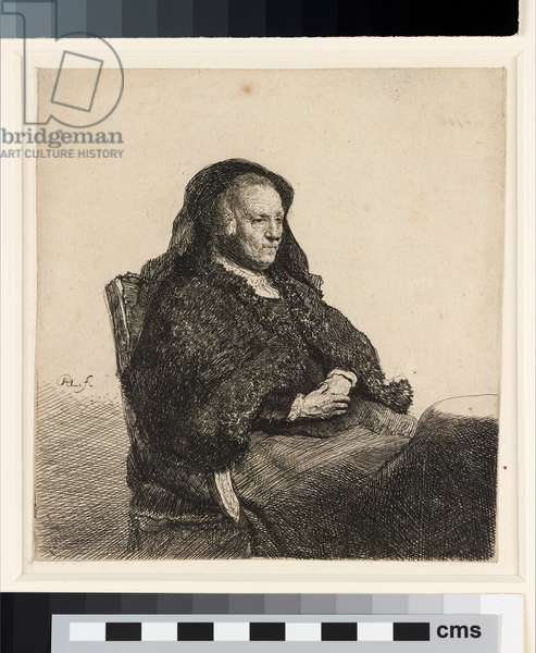 The artist's mother seated at a table, c.1631 (etching)
