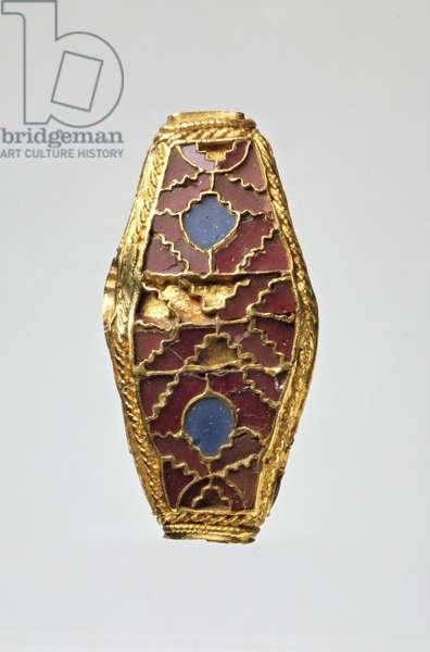 Four-sided lentoid bead (enamel, garnet & gold)