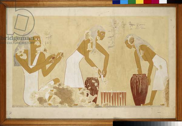 Copy of wall painting from private tomb 60 of Antefoker, Thebes (I, 1, 121-123) putting dough into moulds (tempera)