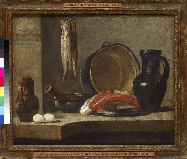 Still Life of Kitchen Utensils, 18th century (oil on canvas)