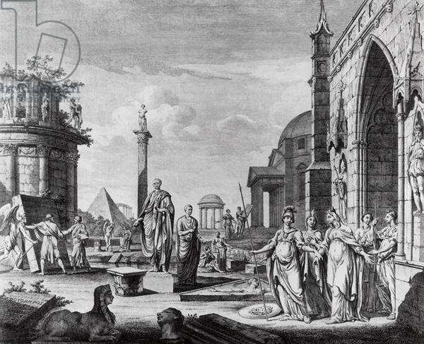 'The University is Introduced from her Gothic Retirement by Minerva to the Knowledge of...Antiquity, Sculpture and Architecture', allegorical scene recording the arrival of The Arundel Marbles presented to Oxford University in 1755, in 'The University Almanack' published 1757 (engraving)