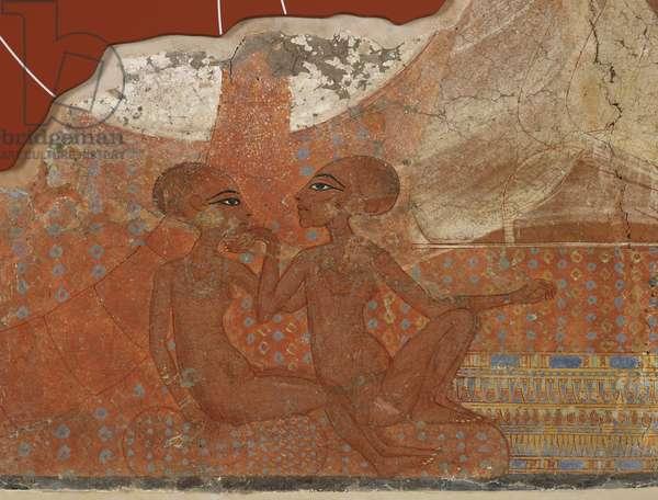 Princesses fresco, Egyptian, New Kingdom, 18th Dynasty, c.1555-1337 BC (mural painting)