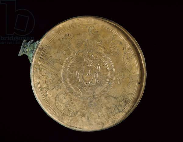 Interior of a mirror with engraved figure of Harpocrates, lotus flowers and mythical animals, 100 BC - 100 AD (cast bronze with incised decoration)