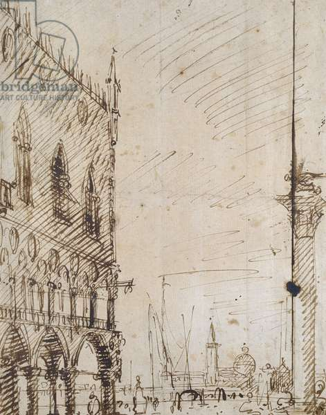 Venice: The south-west Angle of the Doge's Palace (Pen and brown ink over faint outlines in black chalk)