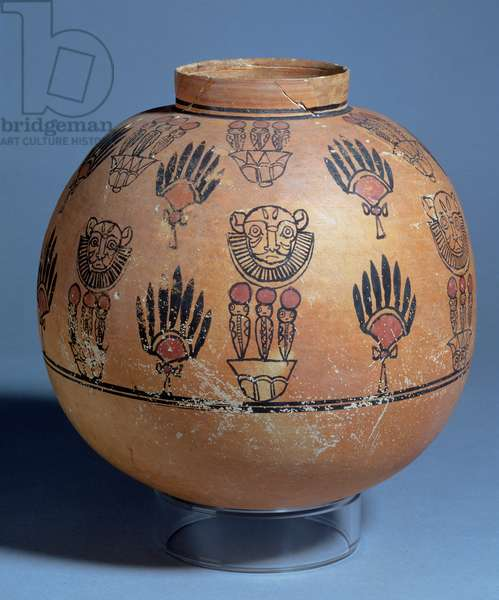 Jar decorated with lion masks and cobra goddesses on lotus flowers, from Tomb 1090, Faras, Sudan, 1st-2nd century AD (painted pottery)