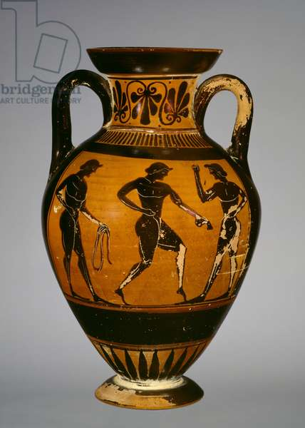 Panathenaic amphora with three athletes (ceramic)
