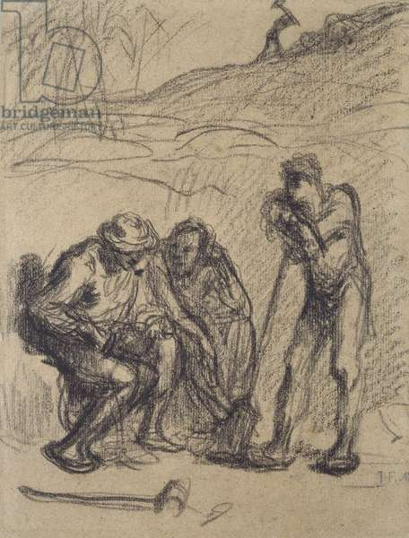 Three Peasants resting, one leaning on a Spade (black crayon on paper)