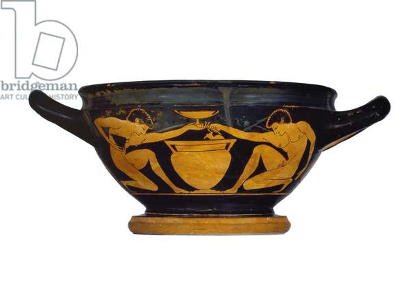 Attic red-figure cup-skyphos, decorated with two naked youths kneeling by a column-crater, c.520-500 BC (ceramic)