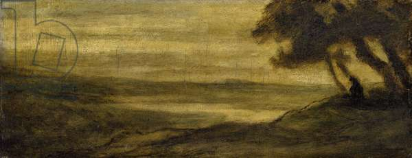 Landscape with a Figure, c. 1860 (oil on panel)