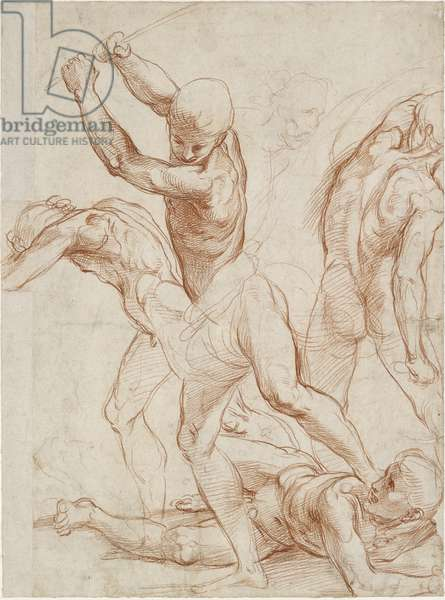 Recto: Combat of five men. Verso: Some slight Figure Studies, WA1846.193 (red chalk over blind stylus, left edge largely made up, pen & black ink)