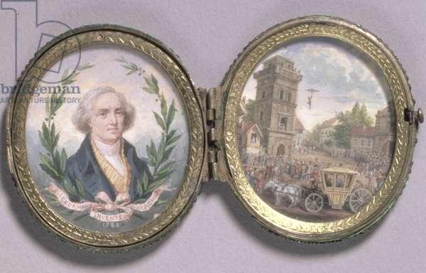 Portrait Miniature of Louis-Sebastien Lenormand with a Scene of His Parachute Descent, 1783 (gouache on vellum)