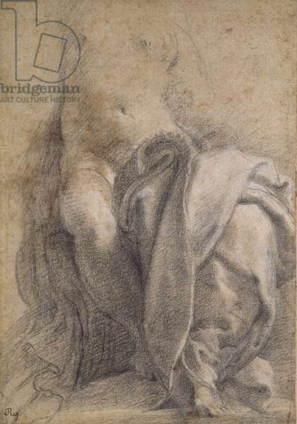 Recto: Seated semi-nude Female wearing Drapery (black and white chalks on paper)