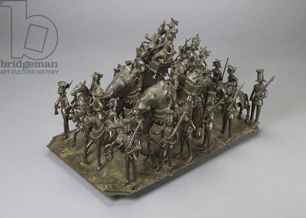 The cavalcade of the King of Oudh riding with the British Resident on elephants, c.1820 (bronze)