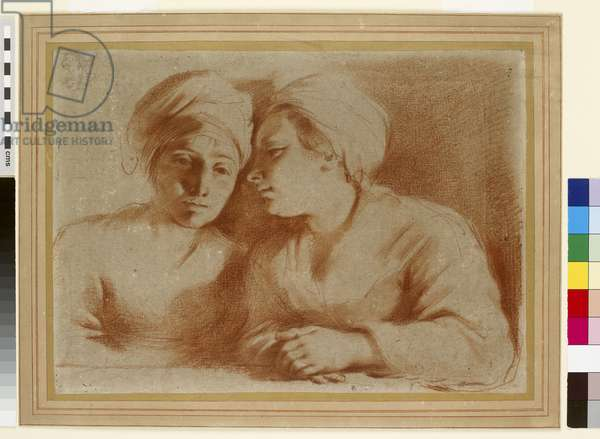 Two Women in Conversation, 17th century (red chalk on paper)