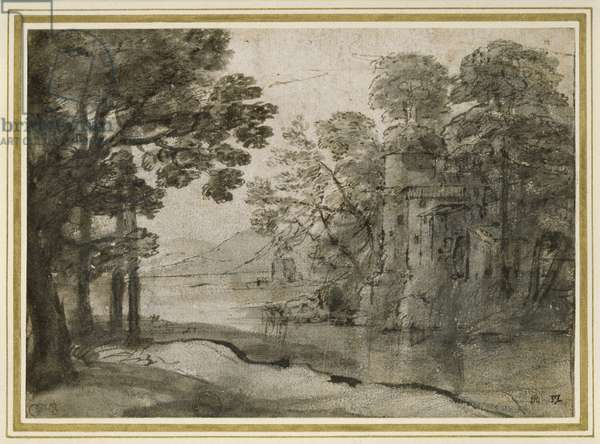 Watermill among Trees, c.1635-38 (pen and black ink with grey wash over black chalk on white paper)