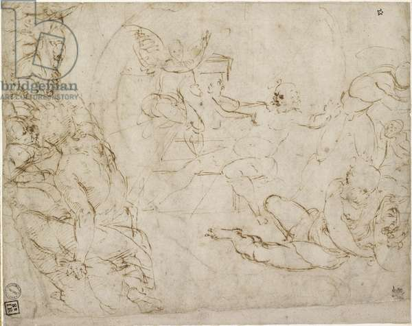 Recto: Design for the lower Portion of a Composition of the Resurrection, WA1846.199 (pen & brown ink, the faint circle bleeding from the verso)