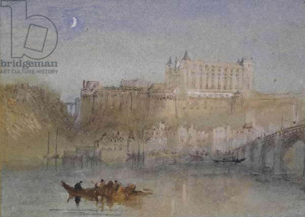 The Bridge and Château at Amboise, c. 1830 (watercolour over graphite with bodycolour and pen and brown, black and reddish ink)