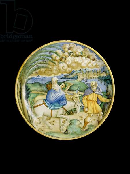 Dish with the Flight into Egypt, 1526, Castel Durante (tin-glazed earthenware maiolica)