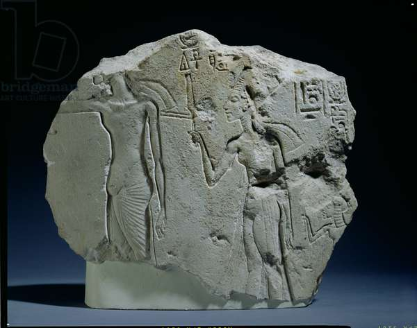 Relief of Nubian Soldier with Bow, Amarna (limestone)
