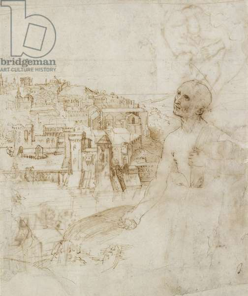 View of the city of Perugia, with the penitent St Jerome in the foreground , 1504 (pen and brown ink on white paper)