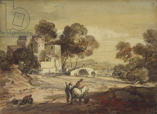 Italianate Landscape with Travellers on a winding Road, 1775 - 1779 (black chalk with watercolour and bodycolour, varnished)