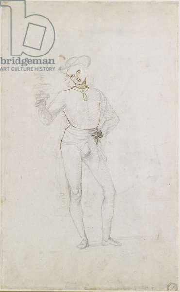 Recto: A Study for a Figure in an Adoration of the Magi, WA1846.5 (black chalk with pen & brown ink on white paper)