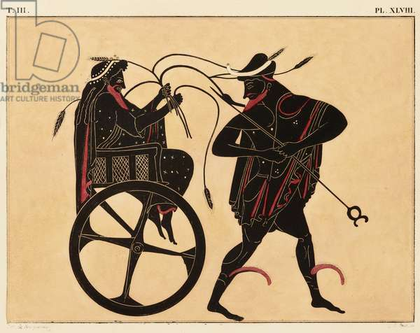 Print of the Decoration on a Greek Amphora, showing Triptolemus and Hermes, c. 1858 (w/c and bodycolour over litho on wove paper)