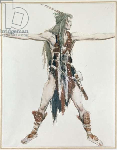 Costume Design for Siegfried (watercolour over graphite on white paper)